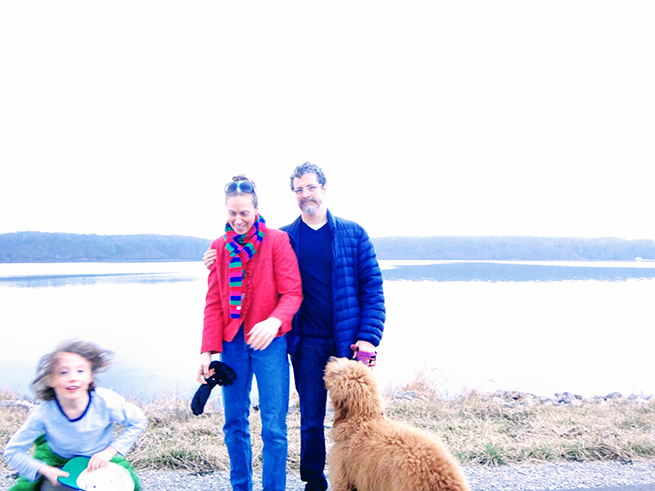 image family at lake goldendoodle