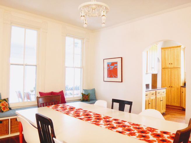 picture dining room and antique chandelier