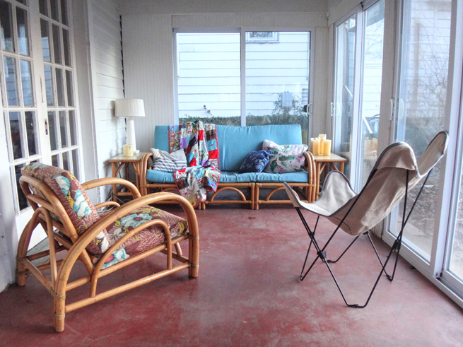 picture enclosed back porch rattan chair