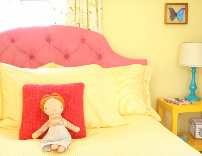 image girls bedroom yellow pink bed