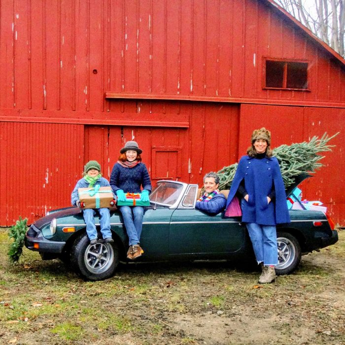 image picture family in an MG car
