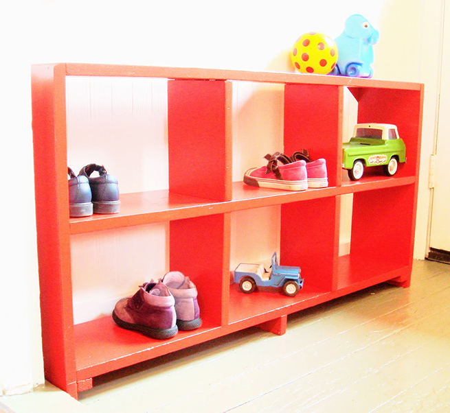 image red painted bookcase mudroom