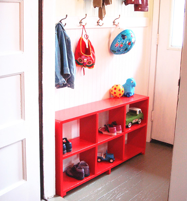 image mudroom red painted bookcase