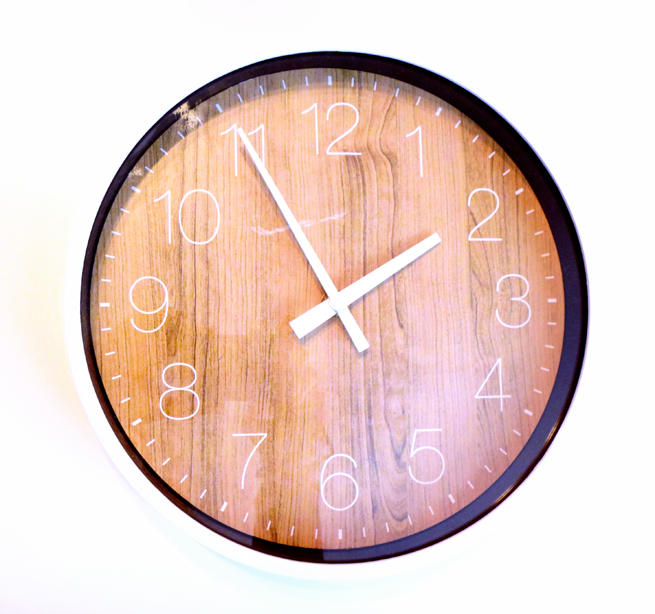 image clock with wood grain face